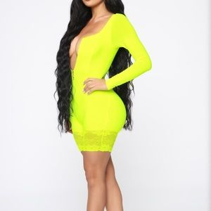 Neon yellow lace romper